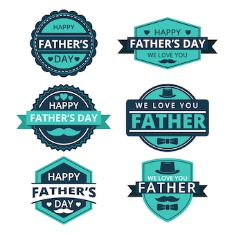 Collezione di etichette per la festa del papà design piatto