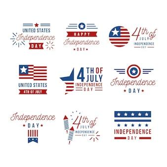 Collezione di etichette per la festa dell'indipendenza degli stati uniti