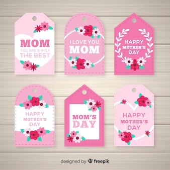 Collezione di etichette per la festa della mamma floreale piatta
