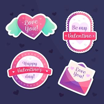 Collezione di etichette per san valentino