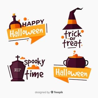 Collezione di etichette piatte di halloween