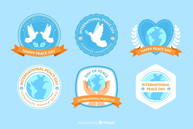 Collezione di etichette piatte giorno della pace