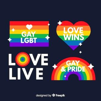 Collezione di etichette piatte pride day