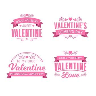 Collezione di etichette piatte san valentino