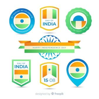 Collezione di etichette piatto giorno dell'indipendenza india