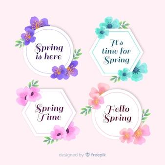 Collezione di etichette primavera acquerello