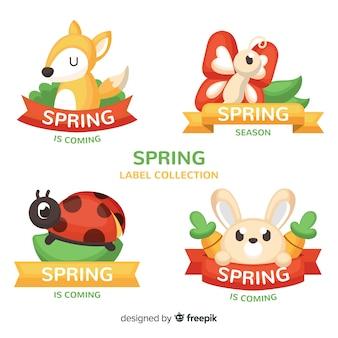 Collezione di etichette primavera animali disegnati a mano