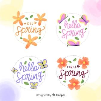 Collezione di etichette primavera fiori e farfalle