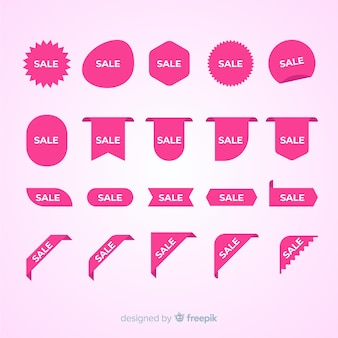 Collezione di etichette rosa di vendita