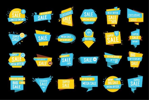 Collezione di etichette vendite blu e giallo