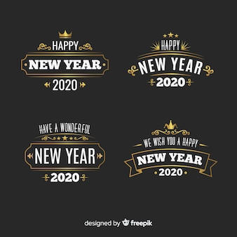 Collezione di etichette vintage del nuovo anno 2020
