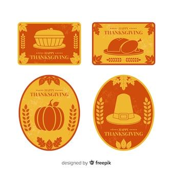 Collezione di etichette vintage del ringraziamento