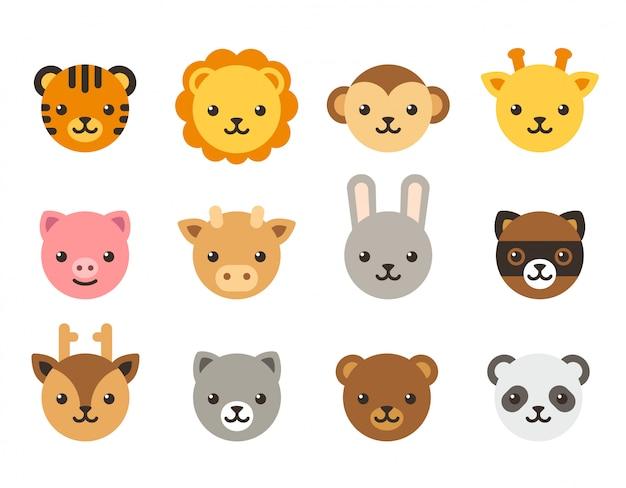 Collezione di facce di animali simpatico cartone animato