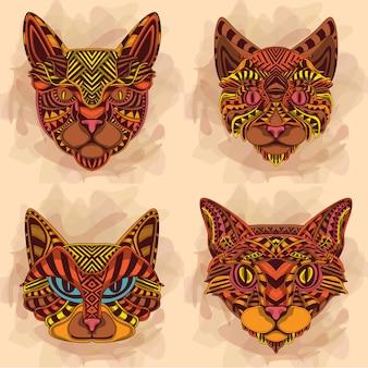 Collezione di facce di gatto etnico