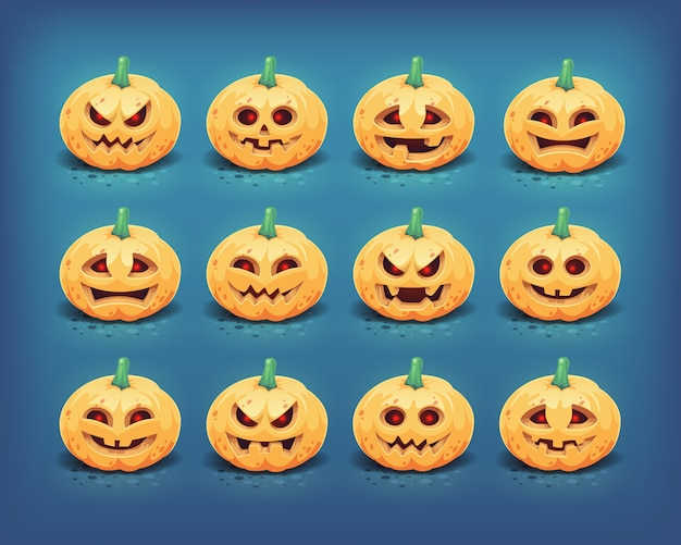 Collezione di facce di zucca di halloween intagliate. illustrazione