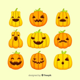 Collezione di facce di zucca piatta di halloween
