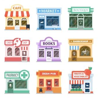 Collezione di facciate di negozi, design esterno