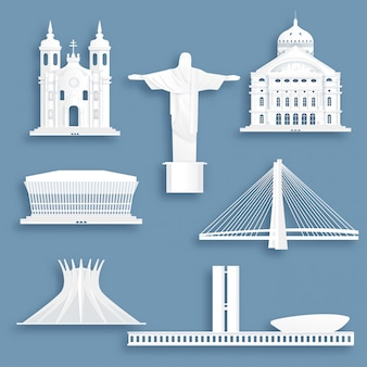 Collezione di famosi monumenti del brasile
