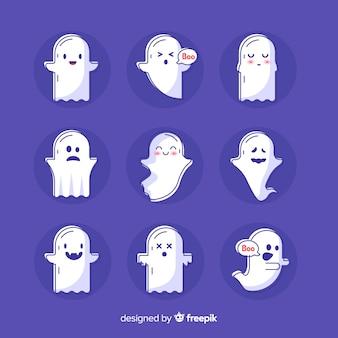 Collezione di fantasmi di halloween carino disegnato a mano