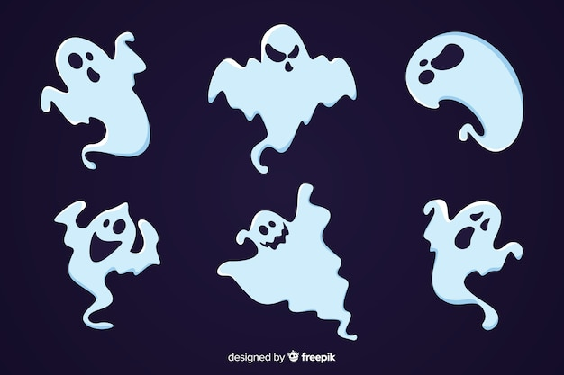 Collezione di fantasmi di halloween piatto spettrale del fumetto