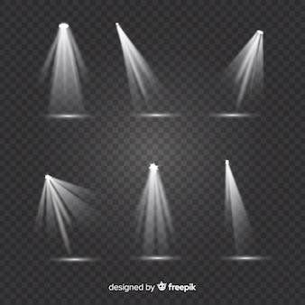 Collezione di faretti teatrali con sfondo trasparente
