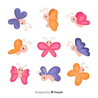 Collezione di farfalle carina disegnata a mano