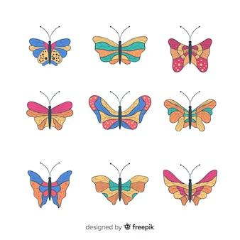 Collezione di farfalle disegnate a mano colorata