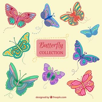 Collezione di farfalle disegnati a mano