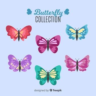 Collezione di farfalle piatte