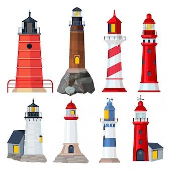 Collezione di fari. costruzione di navigazione di notte nelle illustrazioni dei proiettori di sicurezza del porto marittimo