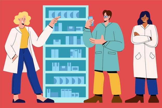 Collezione di farmacisti con persone in camice da laboratorio