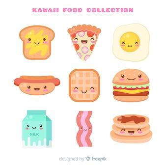 Collezione di fast food disegnata a mano kawaii