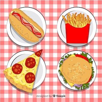 Collezione di fast food disegnata a mano