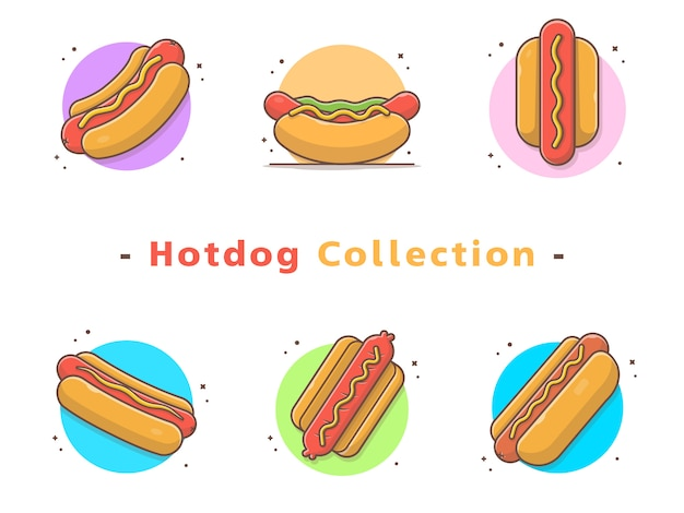 Collezione di fast food hot dog