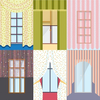 Collezione di finestre classiche colorate