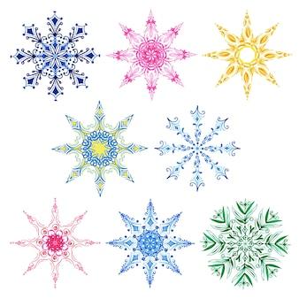 Collezione di fiocchi di neve di natale dell'acquerello
