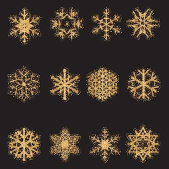 Collezione di fiocchi di neve glitterati