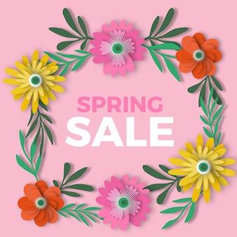 Collezione di fiori colorati primavera in stile carta