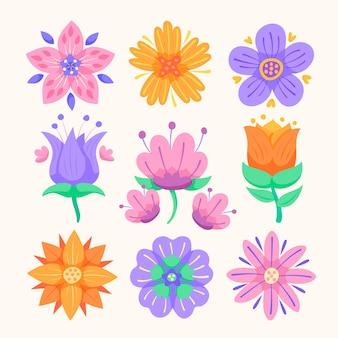 Collezione di fiori di primavera design piatto
