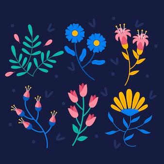 Collezione di fiori di primavera in design piatto