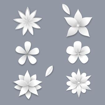 Collezione di fiori di primavera in stile carta
