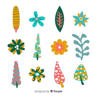 Collezione di fiori e foglie disegnata a mano