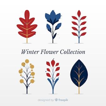 Collezione di fiori invernali piatta