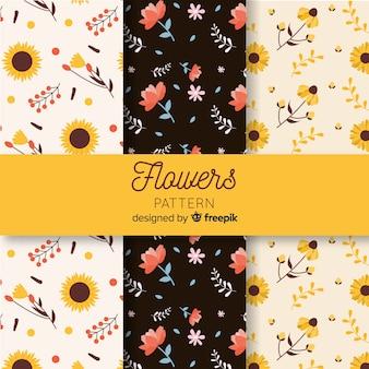 Collezione di fiori piatti