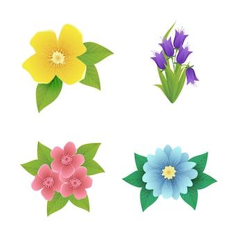 Collezione di fiori primaverili realistici
