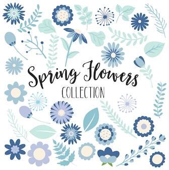 Collezione di fiori teal e navy