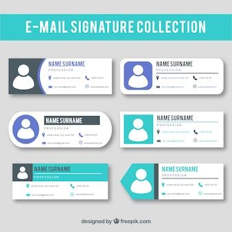 Collezione di firme e-mail in stile piatto