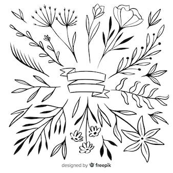 Collezione di foglie e fiori ornamentali disegnati a mano