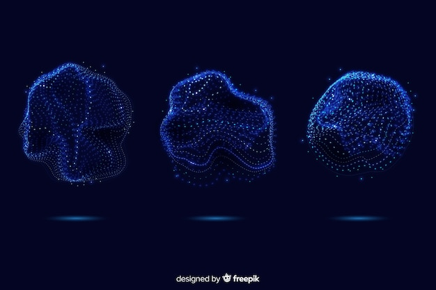 Collezione di forma astratta delle particelle blu