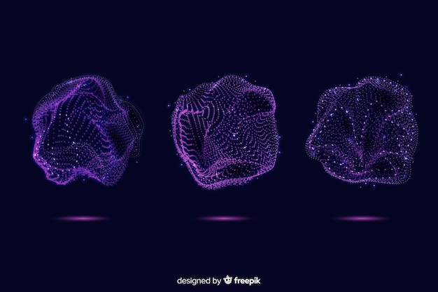 Collezione di forma astratta delle particelle viola